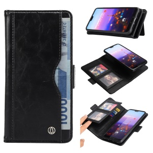 Removable TPU Back Shell + Leather Wallet Phone Case for Huawei P20 - Black