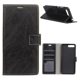 Crazy Horse Texture Retro Leather Wallet Case for Huawei Y6 (2018) / Honor 7A (without Fingerprint Sensor) - Black