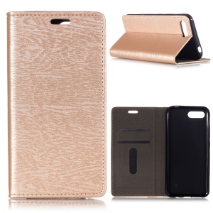 Auto-absorbed Wood Pattern PU Leather Card Holder Case for Huawei Honor 10 - Gold