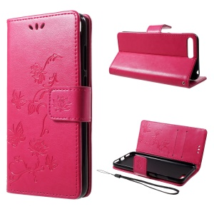 Imprint Butterfly Flower Wallet Stand Leather Case for Huawei Y6 (2018)/Honor 7A (without Fingerprint Sensor) - Rose