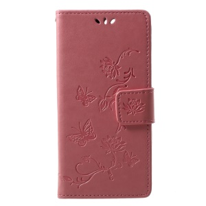 Imprint Butterfly Flower Wallet Stand Leather Magnetic Cover Shell for Huawei Y6 (2018)/Honor 7A (without Fingerprint Sensor) - Pink