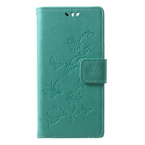 Imprint Butterfly Flower Wallet Stand Leather Mobile Flip Cover for Huawei Y6 (2018)/Honor 7A (without Fingerprint Sensor) - Green