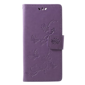 Imprint Butterfly Flower Wallet Leather Protection Cover for Huawei Y6 (2018)/Honor 7A (without Fingerprint Sensor) - Light Purple