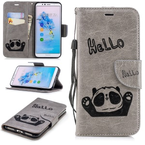 Imprinted Hello Panda Leather Wallet Protective Case for Huawei Enjoy 8E / Honor 7A Pro / Honor 7A (with Fingerprint Sensor) - Grey