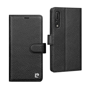 PIERRE CARDIN for Huawei P20 Pro Litchi Grain Genuine Leather Wallet Phone Cover with Stand - Black