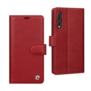 PIERRE CARDIN for Huawei P20 Pro Litchi Grain Genuine Leather Wallet Phone Casing with Stand - Red