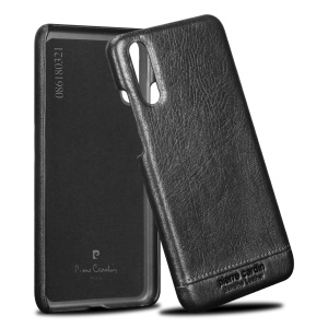 PIERRE CARDIN for Huawei P20 Horizontal Stitched Genuine Leather Coated Plastic Case - Black