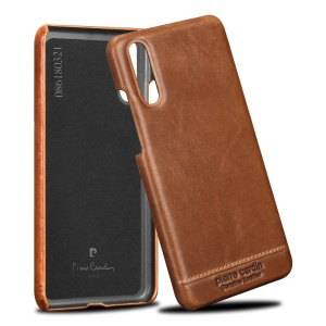PIERRE CARDIN for Huawei P20 Horizontal Stitched Genuine Leather Coated Plastic Mobile Casing - Brown