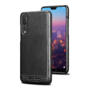PIERRE CARDIN for Huawei P20 Pro Horizontal Stitched Genuine Leather Coated PC Hard Protective Case - Black