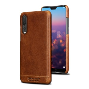 PIERRE CARDIN for Huawei P20 Pro Horizontal Stitched Genuine Leather Coated PC Hard Cell Phone Shell - Brown