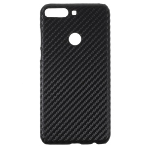 PU Leather Coated Hard PC Protector Case for Huawei Y7 (2018) - Carbon Fiber Sequins
