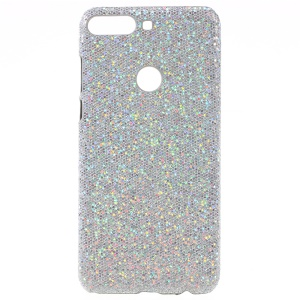 PU Leather Coated Hard PC Protector Casing for Huawei Y7 (2018) - Silver Glitter Sequins