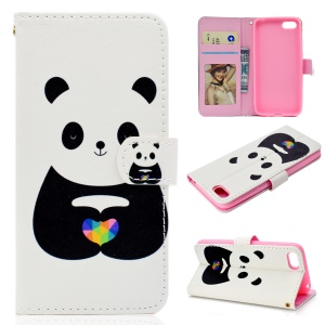 Pattern Printing Wallet Stand Leather Mobile Phone Cover for Huawei Y5 (2018) / Y5 Prime (2018) / Honor 7s / Play 7 - Cute Panda