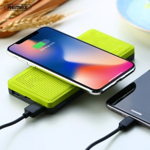 REMAX RPP-103 Qi Wireless Charger Pad 10000mAh Power Bank for iPhone 8/Samsung Galaxy S8 etc. - Green