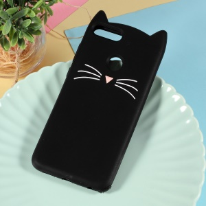 3D Mustache Cat Silicone Soft Phone Casing for Huawei P Smart / Enjoy 7S - Black