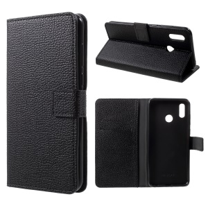 Litchi Skin Wallet Leather Stand Case for Huawei Honor Play - Black
