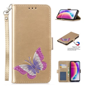 Butterfly Pattern Leather Wallet Stand Cellphone Protection Case for Huawei P20 Lite/Nova 3e (China) - Gold
