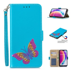 For Huawei P20 Lite/Nova 3e (China) Butterfly Pattern Leather Wallet Stand Phone Case with Strap - Blue