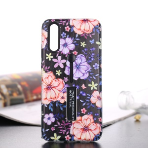 For Huawei P20 Pro Embossed Flower Pattern TPU + PC Hybrid Back Case with Finger Grip and Kickstand - Blooming Blossom