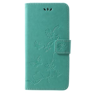 Imprint Butterfly Flower Wallet Stand Leather Protection Phone Case for Huawei Honor Play - Green