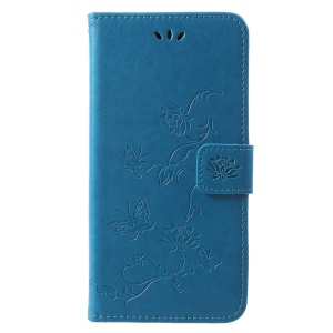 Imprint Butterfly Flower Leather Wallet Stand Protection Casing for Huawei Honor Play - Blue