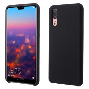 Silky Soft Touch Solid Silicone Phone Case for Huawei P20 - Black