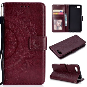Imprinted Mandala Pattern Wallet Leather Cellphone Cover Shell for Huawei Honor 10 - Brown