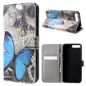 Pattern Printing PU Leather Magnetic Wallet Stand Casing for Huawei Y6 (2018)/Honor 7A (without Fingerprint Sensor) - Blue Butterfly