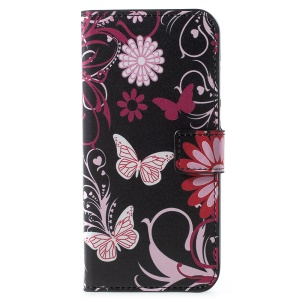 Pattern Printing Leather Magnetic Wallet Case with Stand for Huawei Y6 (2018)/Honor 7A (without Fingerprint Sensor) - Butterfly Flower