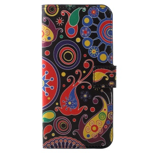 Pattern Printing PU Leather Magnetic Wallet Stand Flip Shell for Huawei Y6 (2018)/Honor 7A (without Fingerprint Sensor) - Paisley Flower