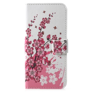 Pattern Printing PU Leather Magnetic Wallet Stand Folio Shell for Huawei Y6 (2018)/Honor 7A (without Fingerprint Sensor) - Plum Blossom