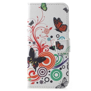 Pattern Printing PU Leather Wallet Stand Cover for Huawei Y6 (2018)/Honor 7A (without Fingerprint Sensor) - Butterfly and Circles