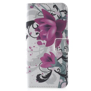 Pattern Printing PU Leather Protection Wallet Casing with Stand for Huawei Y6 (2018)/Honor 7A (without Fingerprint Sensor) - Purple Flower