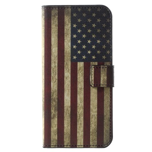 Patterned PU Leather Wallet Cover Shell for Huawei Y6 (2018)/Honor 7A (without Fingerprint Sensor) - Flag of America