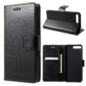 Imprint Tree Owl Magnetic Leather Stand Cover for Huawei Y6 (2018) / Honor 7A (without Fingerprint Sensor) - Black