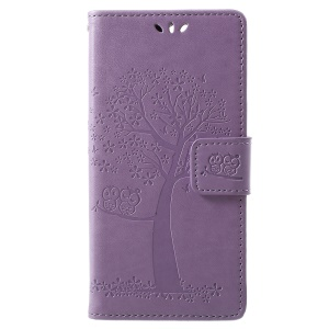 For Huawei Y6 (2018) / Honor 7A (without Fingerprint Sensor) Imprint Tree Owl Magnetic Leather Wallet Case Accessory with Stand - Light Purple