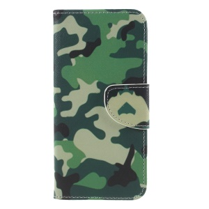 Cross Texture Patterned Leather Wallet Stand Case for Huawei Y6 (2018) / Honor 7A (without Fingerprint Sensor) - Camouflage
