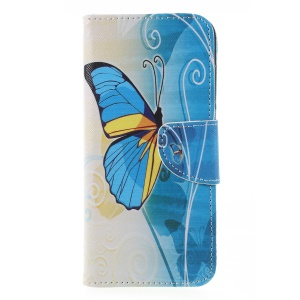Cross Texture Patterned Leather Wallet Stand Shell for Huawei Y6 (2018) / Honor 7A (without Fingerprint Sensor) - Blue Butterfly