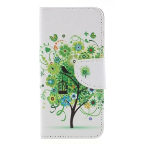 Cross Texture Patterned Leather Wallet Stand Cover Accessory for Huawei Y6 (2018) / Honor 7A (without Fingerprint Sensor) - Green Tree