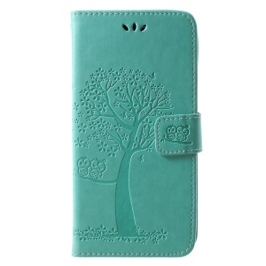 Imprint Tree Owl Pattern Wallet Stand Leather Flip Phone Casing for Huawei Honor Play - Green