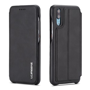 LC.IMEEKE for Huawei P20 Pro Retro Style Leather Card Holder Stand Phone Casing - Black