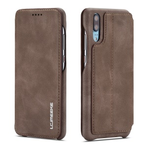 LC.IMEEKE for Huawei P20 Pro Retro Style Leather Card Holder Stand Phone Shell - Coffee