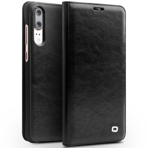 QIALINO Thin Classic Genuine Leather Flip Case with Card Slot for Huawei P20 - Black