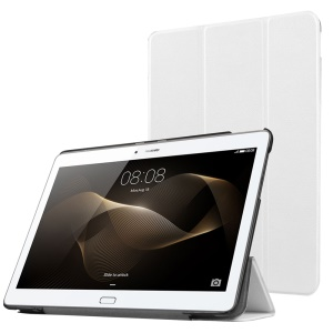 Tri-fold Stand Leather Protective Case for Huawei MediaPad M2 - White