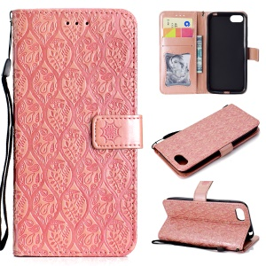 Imprint Leaf Leather Stand Wallet Phone Shell for Huawei Y5 (2018) / Y5 Prime (2018) / Honor 7s / Play 7 - Pink