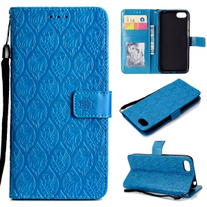 Imprint Leaf Leather Stand Wallet Mobile Case for Huawei Y5 (2018) / Y5 Prime (2018) / Honor 7s / Play 7 - Baby Blue