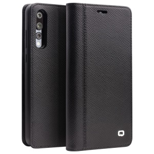 QIALINO Cross Texture Genuine Leather + TPU Detachable 2 in 1 Wallet Phone Case for Huawei P20 Pro - Black