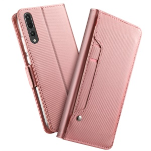 Leather Wallet Stand Cover and Makeup Mirror for Huawei P20 - Rose Gold