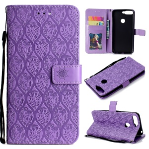 For Huawei Enjoy 8E / Honor 7A Pro / Honor 7A (with Fingerprint Sensor) Imprint Leaf Leather Stand Wallet Phone Cover - Purple