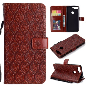 For Huawei Enjoy 8E / Honor 7A Pro / Honor 7A (with Fingerprint Sensor) Imprint Leaf Leather Stand Wallet Cellphone Cover - Brown
